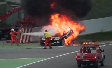 racing car on fire